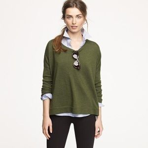 J. Crew Cashmere V-Neck Boyfriend Sweater in Olive
